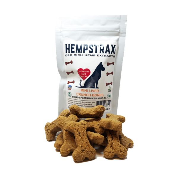 Hempstrax Liver Crunch Bone CBD Dog Treats