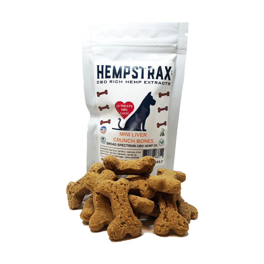 Hempstrax Liver Crunch Bone CBD Dog Treats