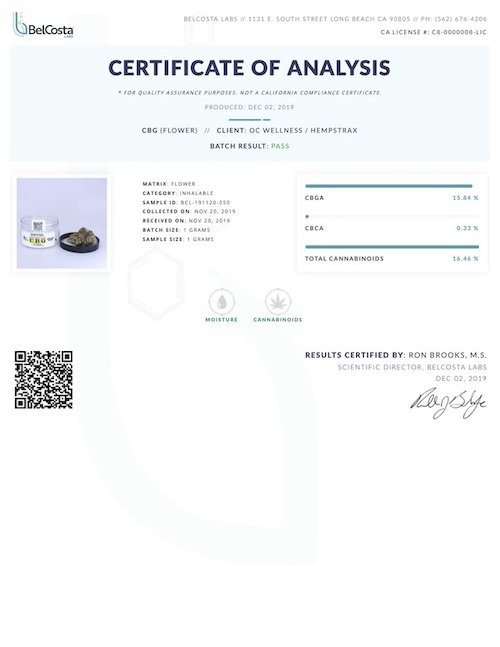 White CBG Flower Certificate of Analysis