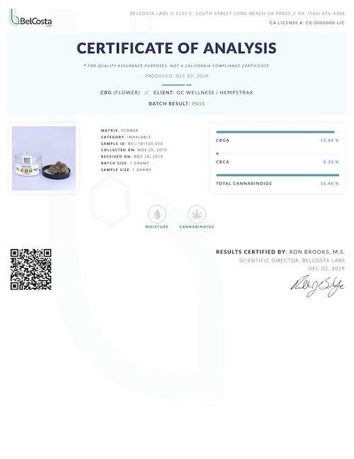 CBG Flower Certificate of Analysis